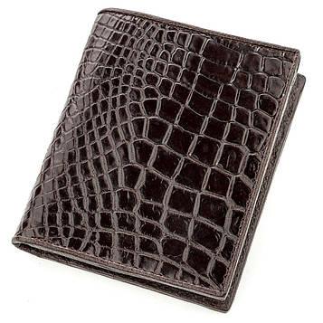 Портмоне CROCODILE LEATHER 18529 из натуральной кожи крокодила Коричневое, Коричневый