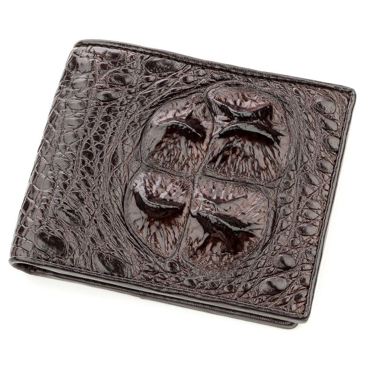 Бумажник мужской CROCODILE LEATHER 18581 из натуральной кожи крокодила Коричневый, Коричневый