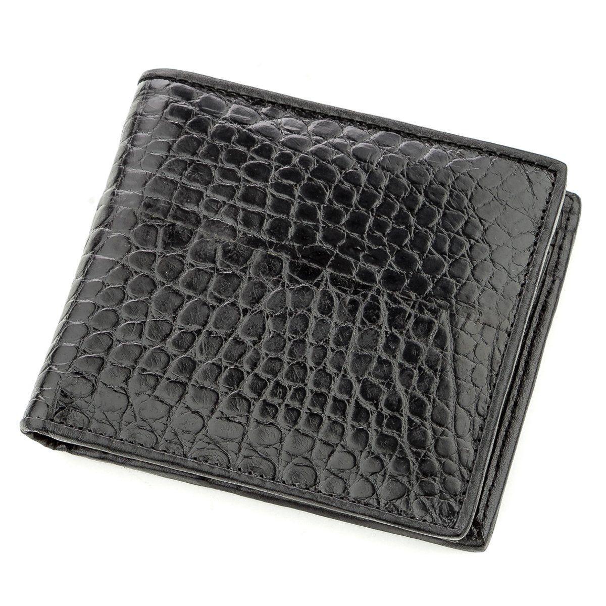 Бумажник мужской CROCODILE LEATHER 18584 из натуральной кожи крокодила Черный, Черный