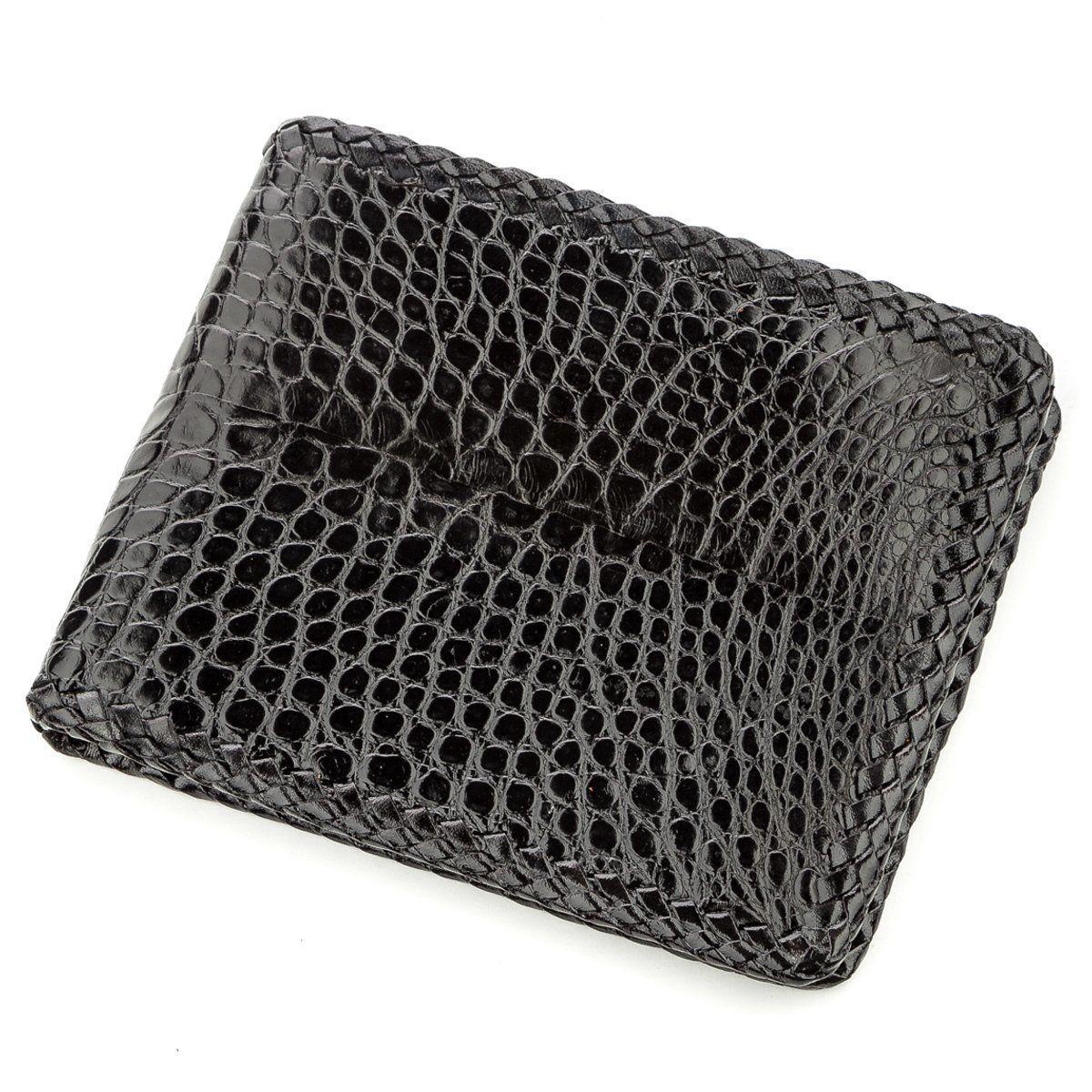 Бумажник мужской CROCODILE LEATHER 18586 из натуральной кожи крокодила Черный, Черный