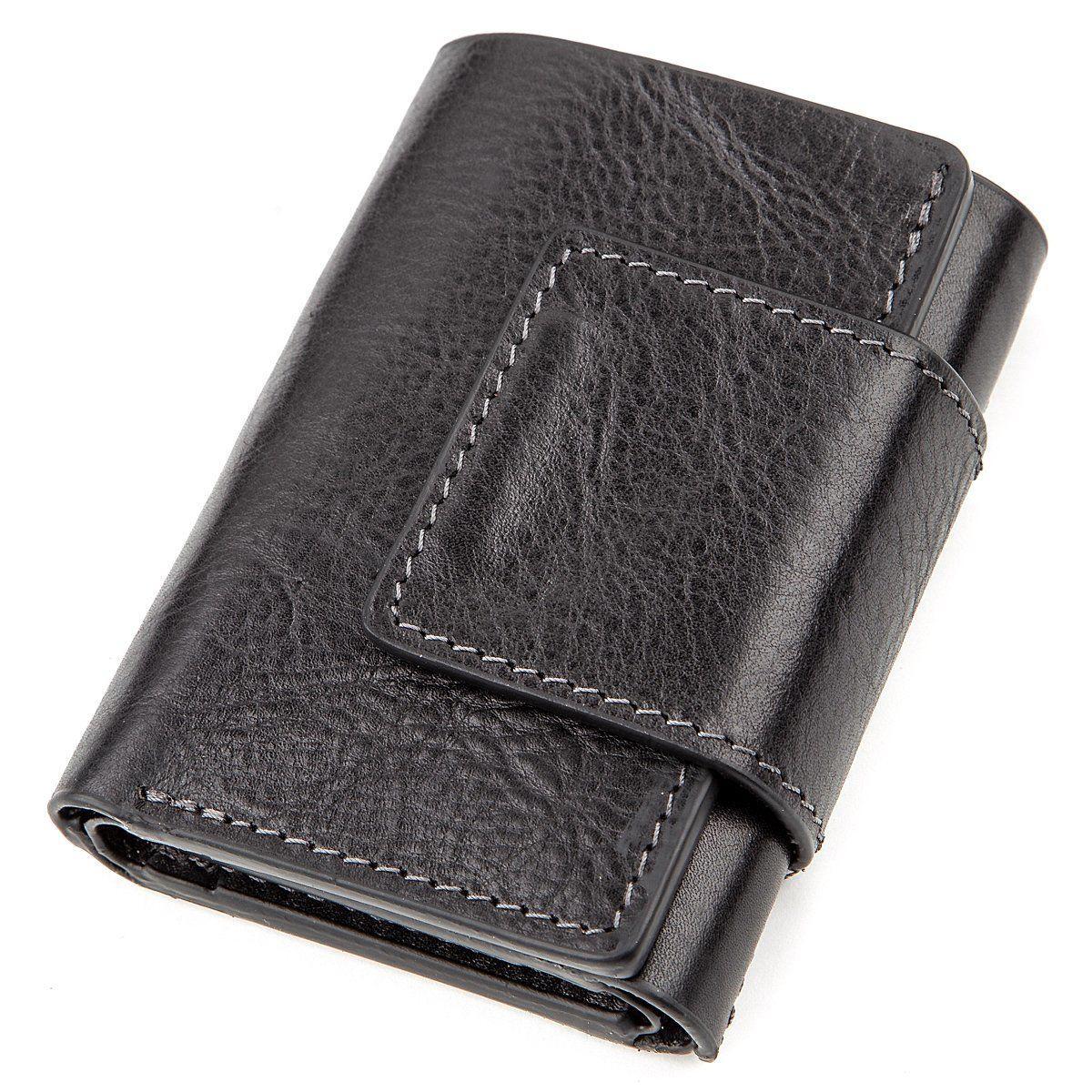 Строгое портмоне унисекс из гладкой кожи GRANDE PELLE 11152 Черное, Черный