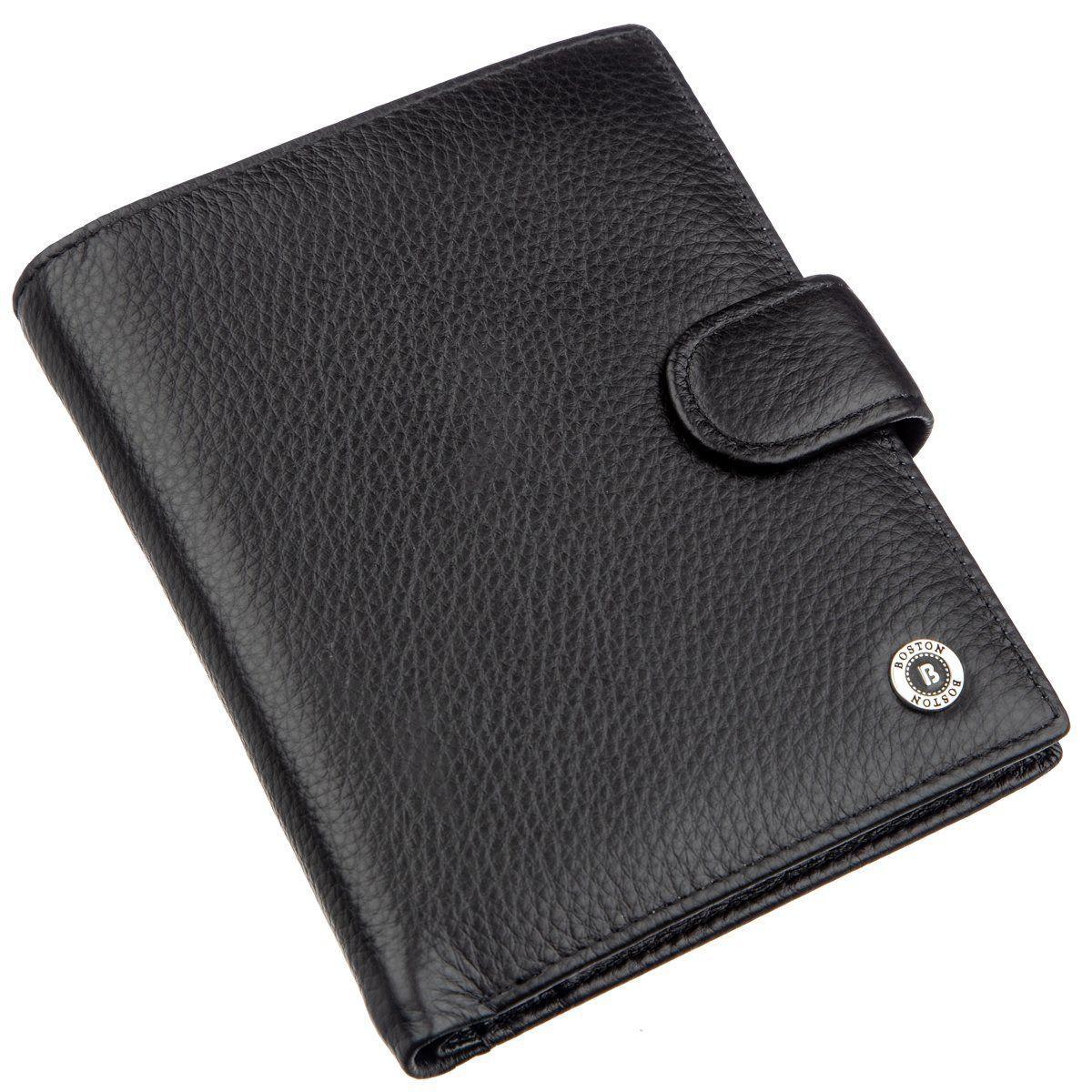 Кожаное мужское портмоне на кнопке Boston 18822 Черный, Черный