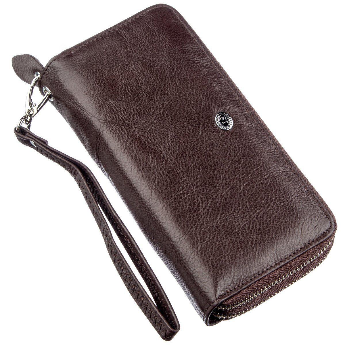 Женский клатч с ремешком на запястье ST Leather 18867 Коричневый, Коричневый