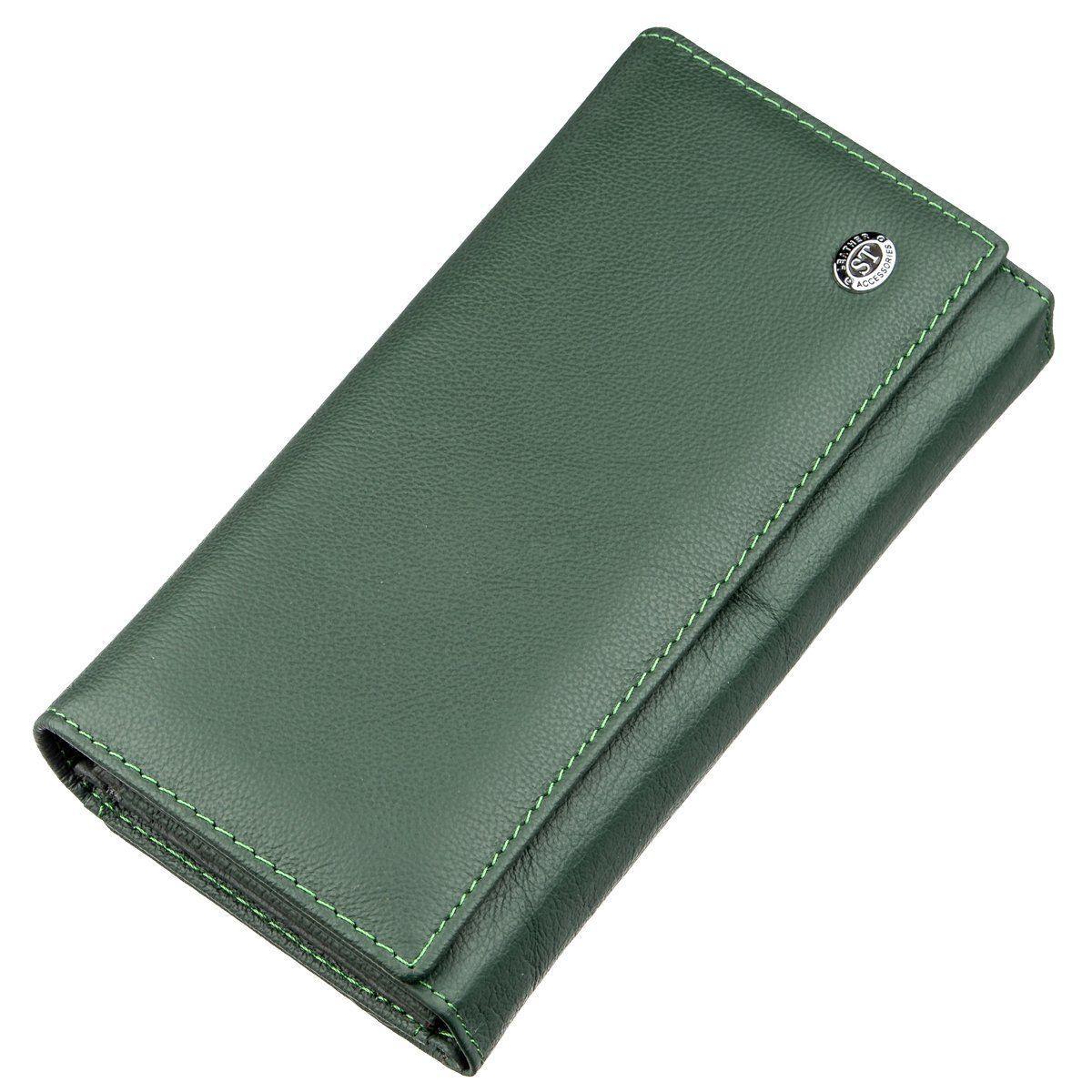 Кожаный кошелек с монетницей ST Leather 18879 Зеленый, Зеленый