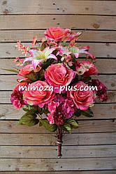 Искусственные цветы - Роза с лилией и гортензией композиция, 70 см