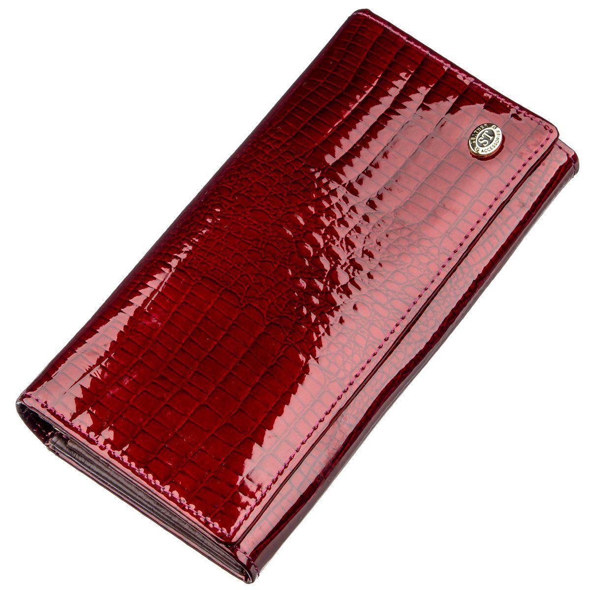 Вместительный лаковый женский кошелек на кнопке ST Leather 18904 Бордовый, Бордовый