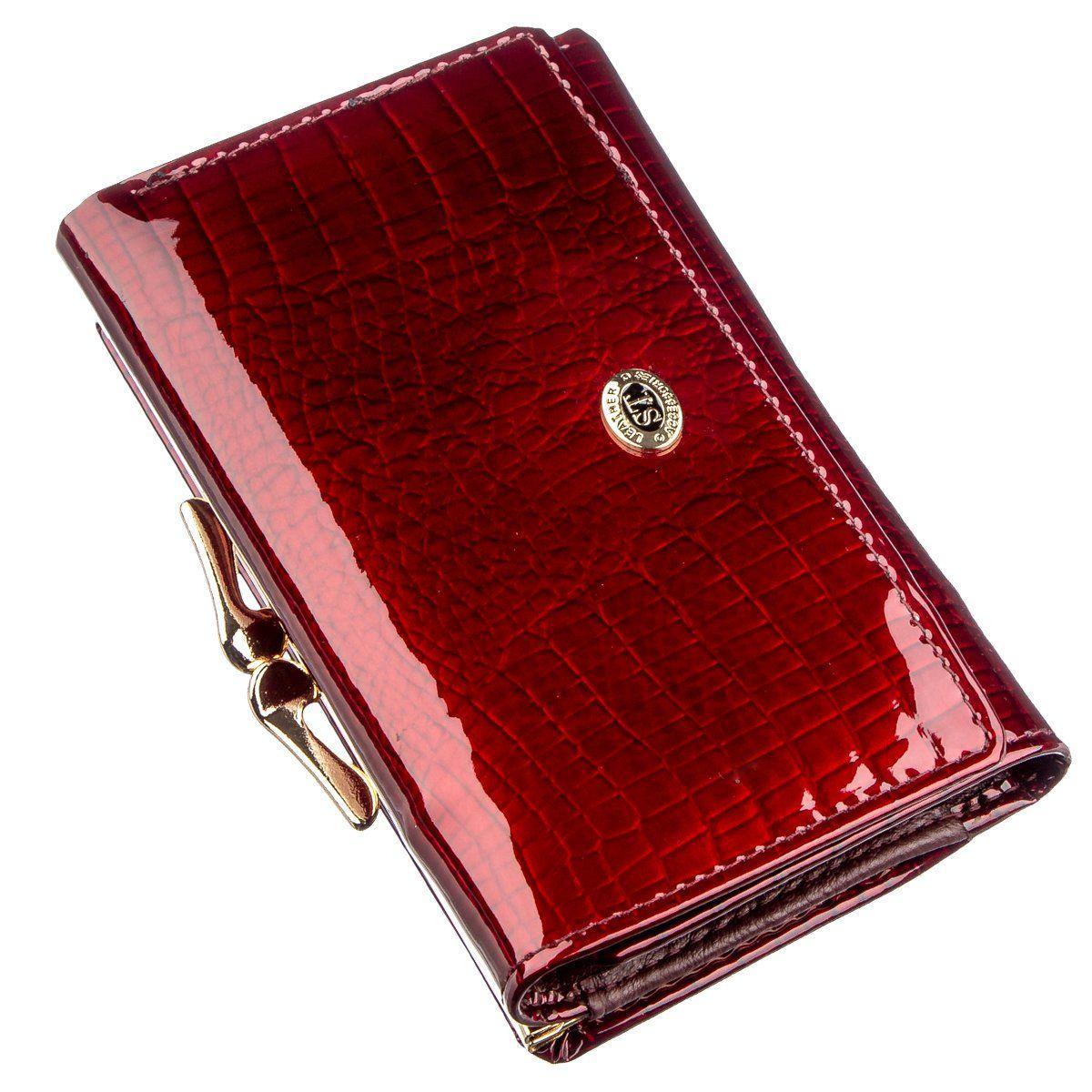 Классический женский кошелек на кнопке ST Leather 18913 Бордовый, Бордовый