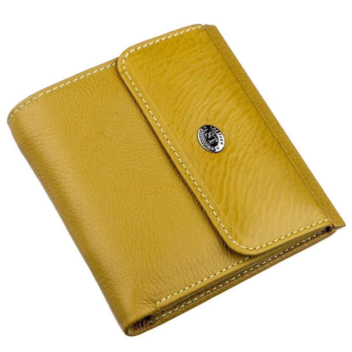 Оригинальный женский кошелек с монетницей ST Leather 18922 Горчичный, Горчичный