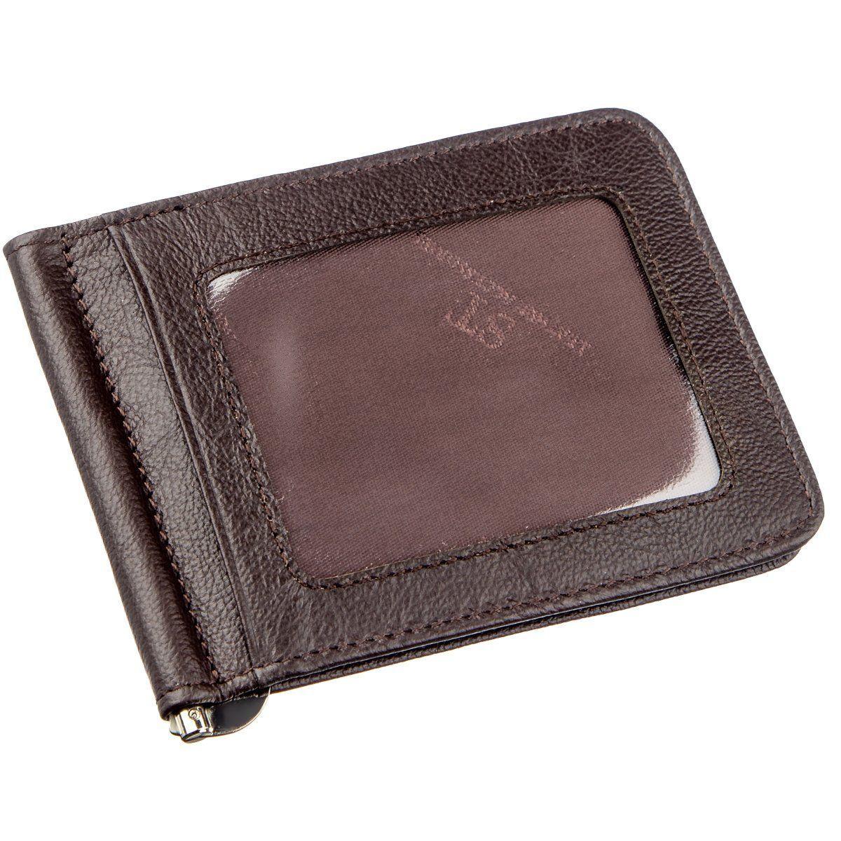 Удобный мужской зажим для купюр ST Leather 18938 Коричневый, Коричневый
