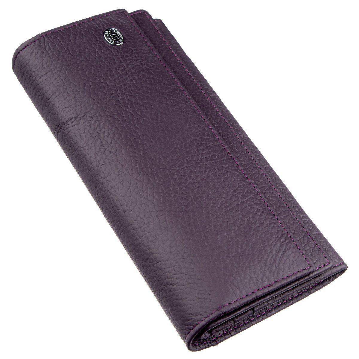 Женский кошелек с визитницей на кнопке ST Leather 18950 Фиолетовый, Фиолетовый