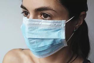 Маски защитные медицинские для лица, трехслойные, 3 слоя, ГОЛУБЫЕ, комплекты от 10 шт.