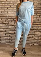 Костюм спортивный женский трикотаж с коротким рукавом голубой  размер 44 46 48