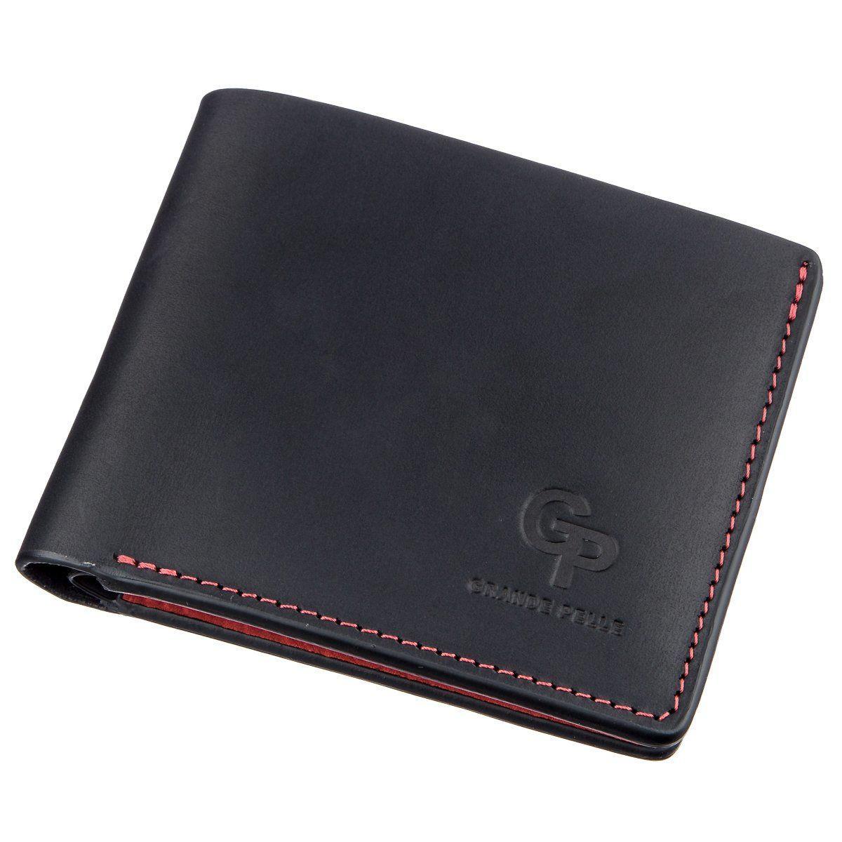 Оригинальное портмоне комби унисекс на магните GRANDE PELLE 11207 Черное, Черный