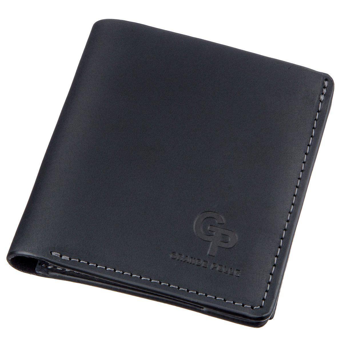 Оригинальное портмоне унисекс с накладной монетницей GRANDE PELLE 11222 Черное, Черный