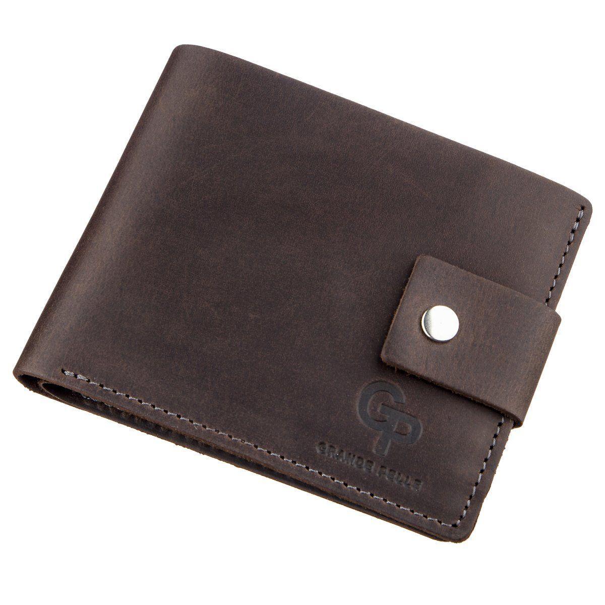 Солидное мужское портмоне винтажное GRANDE PELLE 11230 Коричневое, Коричневый
