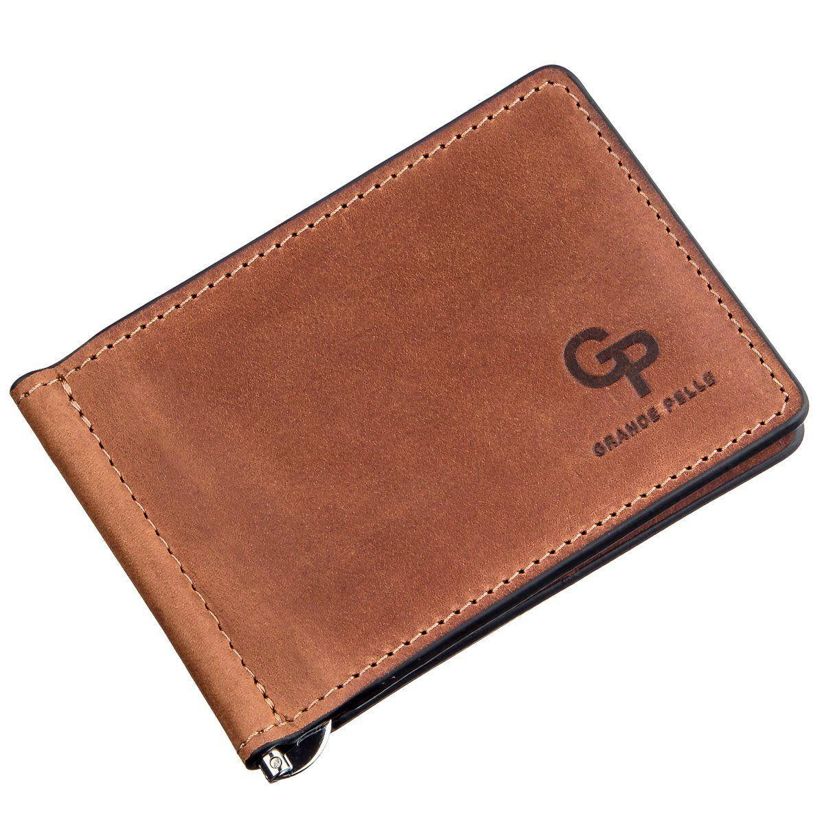 Компактный зажим для денег без застежки GRANDE PELLE 11241 Коричневый, Коричневый