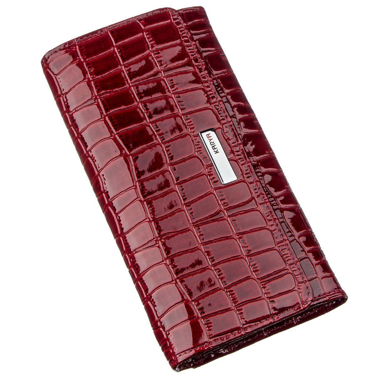 Женский кошелек красный лаковый под экзотику 17373 KARYA Красный, Красный