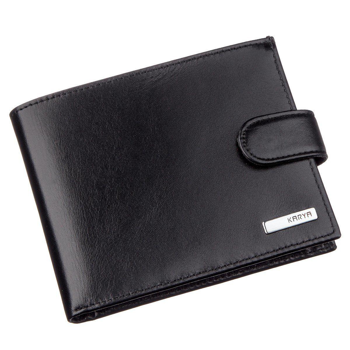 Мужское портмоне в гладкой коже KARYA 17372 Черное, Черный