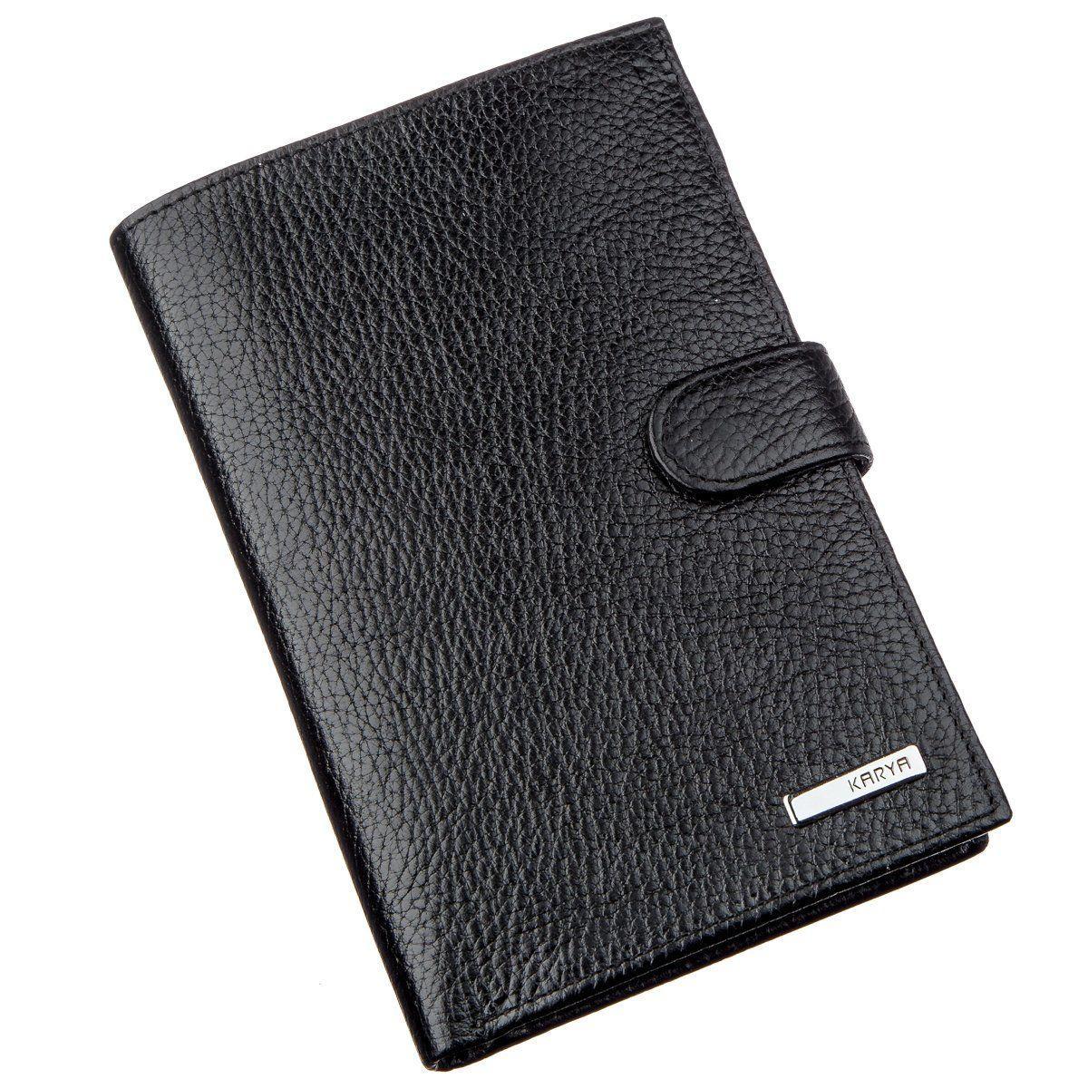 Вместительный функциональный мужской бумажник KARYA 17368 Черный, Черный