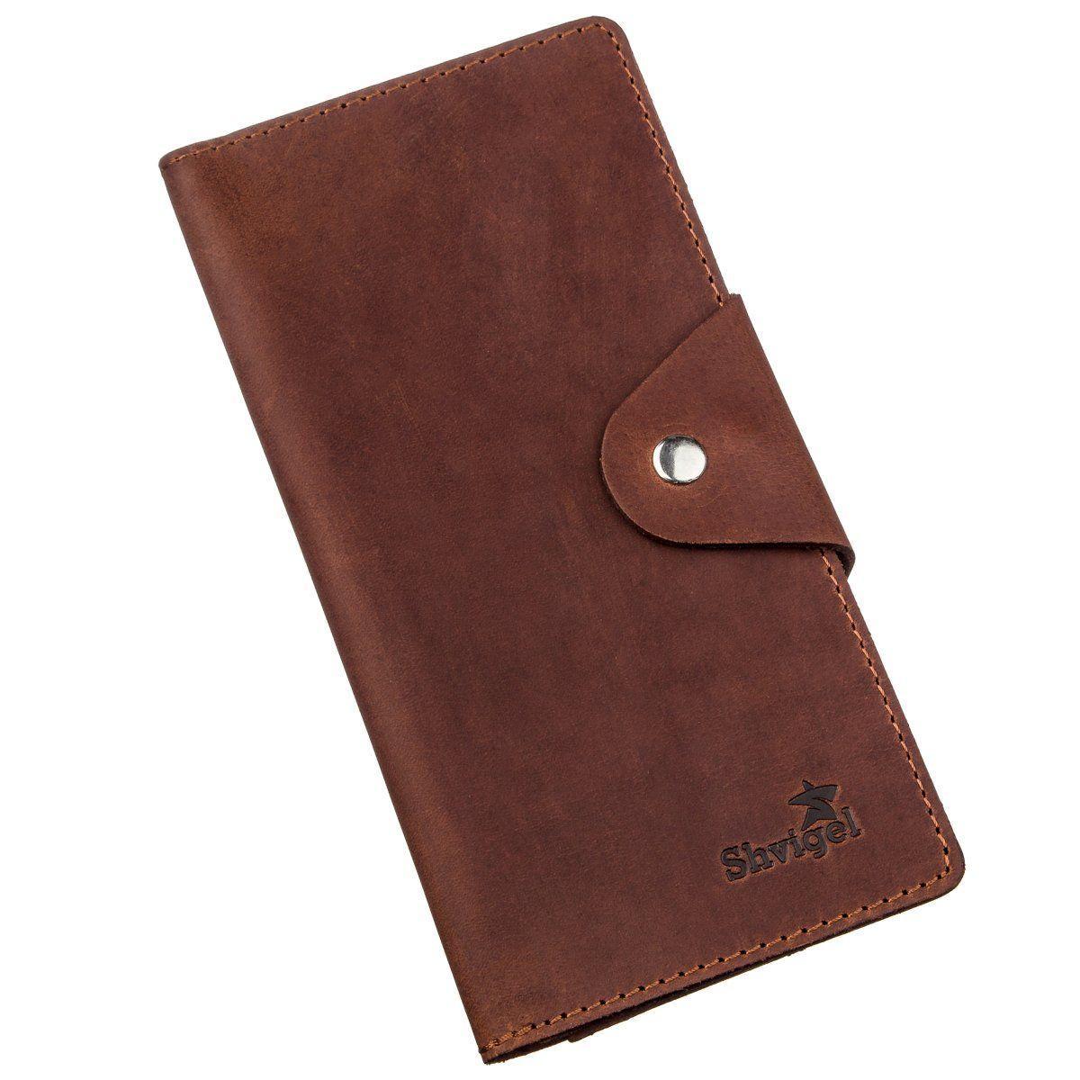 Бумажник мужской из винтажной кожи SHVIGEL 16167 Коричневый, Коричневый