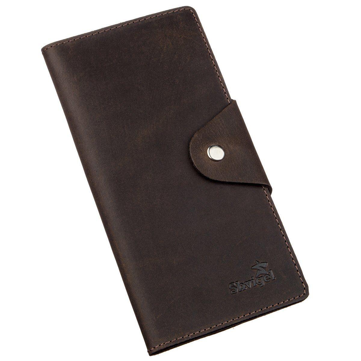 Бумажник вертикальный из винтажной кожи на кнопках SHVIGEL 16180 Коричневый, Коричневый