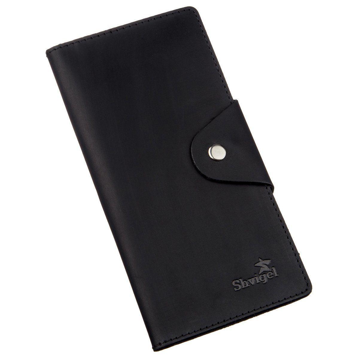 Бумажник мужской вертикальный из винтажной кожи на кнопках SHVIGEL 16182 Черный, Черный