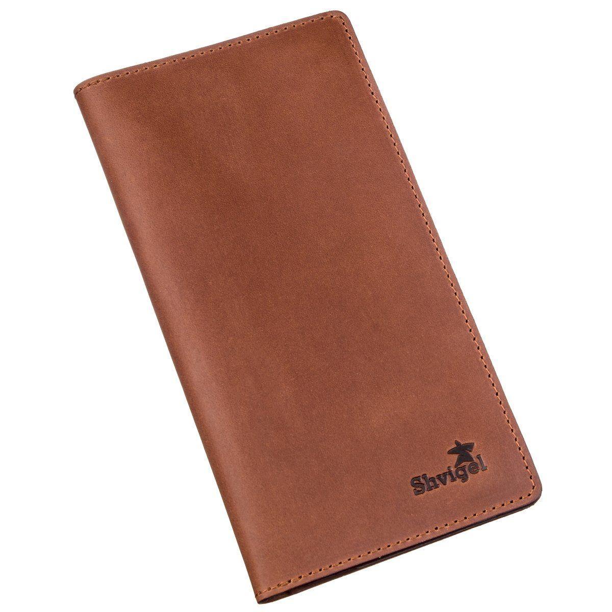 Бумажник мужской вертикальный матовый SHVIGEL 16199 Рыжий, Рыжий