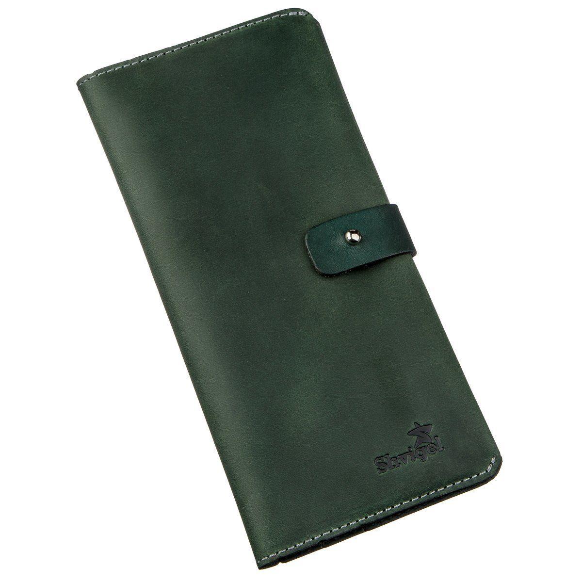 Бумажник из винтажной кожи SHVIGEL 16206 Зеленый, Зеленый
