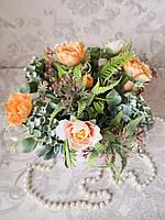 Композиция из искусственных цветов в кашпо, фото 1