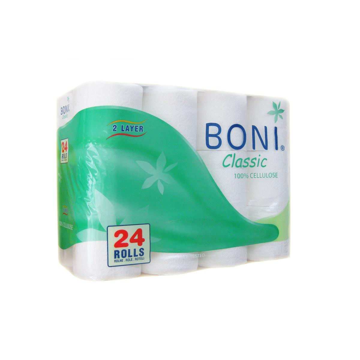 Папір туалетний BONI  CLASSIC 2- х шаровий в рулонах 24рул/уп, за 1 уп