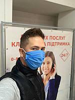 Защитная одноразовая маска для лица трехслойная (оптом) на резинке, лицевая маска