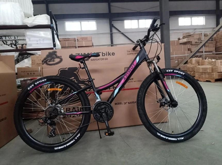 """Горный велосипед 26 дюймов Azimut Navigator FRD рама 17"""" BLACK-PINK"""