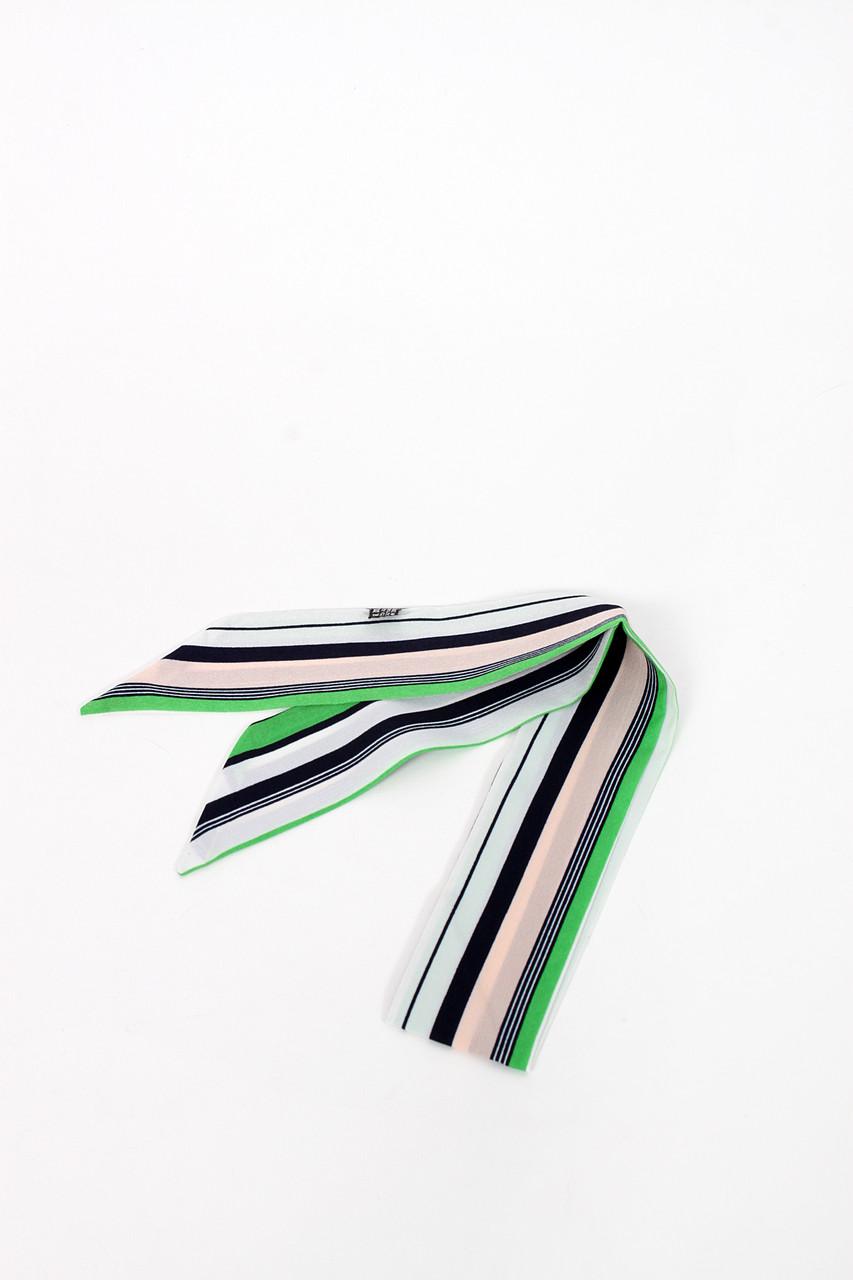 Узкий шарф FAMO Шарф Джэми зеленый+розовый 88*5 (G-1901-11) #L/A