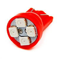 T10 4-SMD LED W5W лампочка автомобильная - красный, фото 1