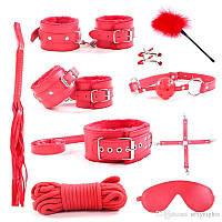 Набор красный Садо-мазо,фетиш,BDSM.БДСМ 10 аксессуаров; плетка, веревка 5 м.,маска, кляп,наручники, ошейник,