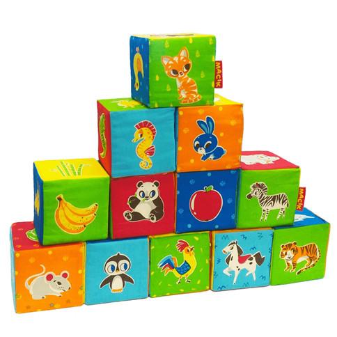 Развивающий набор кубиков Животные (12 шт)