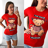 Женская футболка с медведем, фото 1
