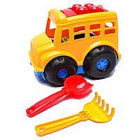 """Детская игрушечная машинка-автобус """"Бусик"""" (лопатка и грабельки)"""