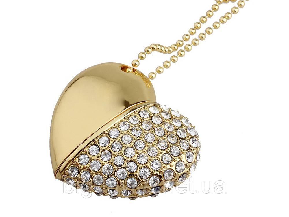 Флеш накопитель Открытое сердце на 32 Гб  Золотой