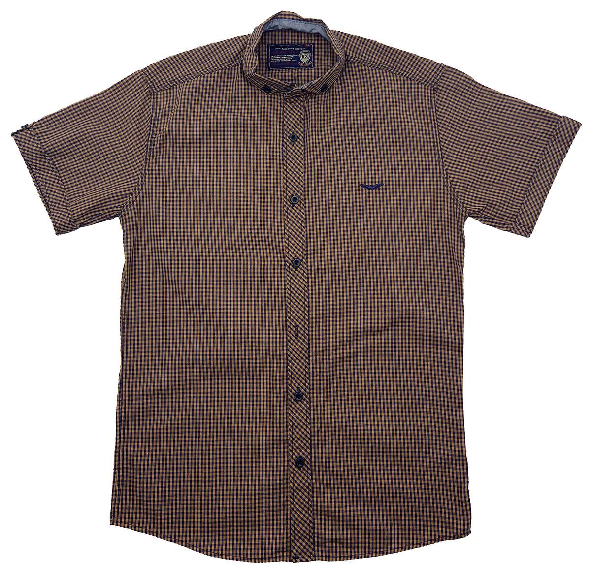 Рубашка с коротким рукавом Ronex Турция kr1008/3 Коричневая XXL