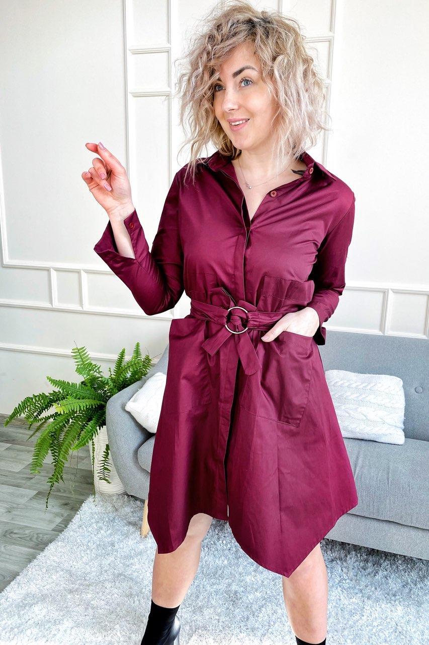 Платье рубашка с оригинальным подолом и карманами Yiyan Fashion - бордо цвет, S (есть размеры)