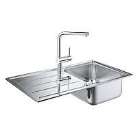 Набор кухонная мойка Grohe EX Sink 31573SD0 K500 и смеситель Minta 32168000