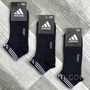 Носки мужские спортивные х/б с сеткой Adidas Athletic, размер 41-44, короткие, чёрные, 12605