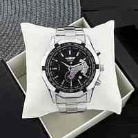 Статусные мужские механические часы Winner TM340 Silver-Black с браслетом