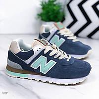 Женские кроссовки из натуральной замши N_B синие, 40 размер