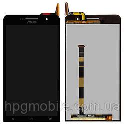 Дисплейный модуль (дисплей + сенсор) для Asus ZenFone 6 A600CG, черный, оригинал