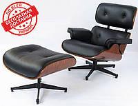 Кресло Релакс с оттоманкой натуральная кожа черная СДМ группа (бесплатная доставка)