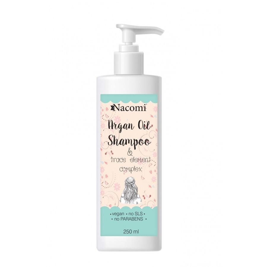 Купить Шампунь для волос Nacomi Argan Oil Shampoo с аргановым маслом и комлексом микроэлементов без SLS, органический 250 мл (5901878688404)