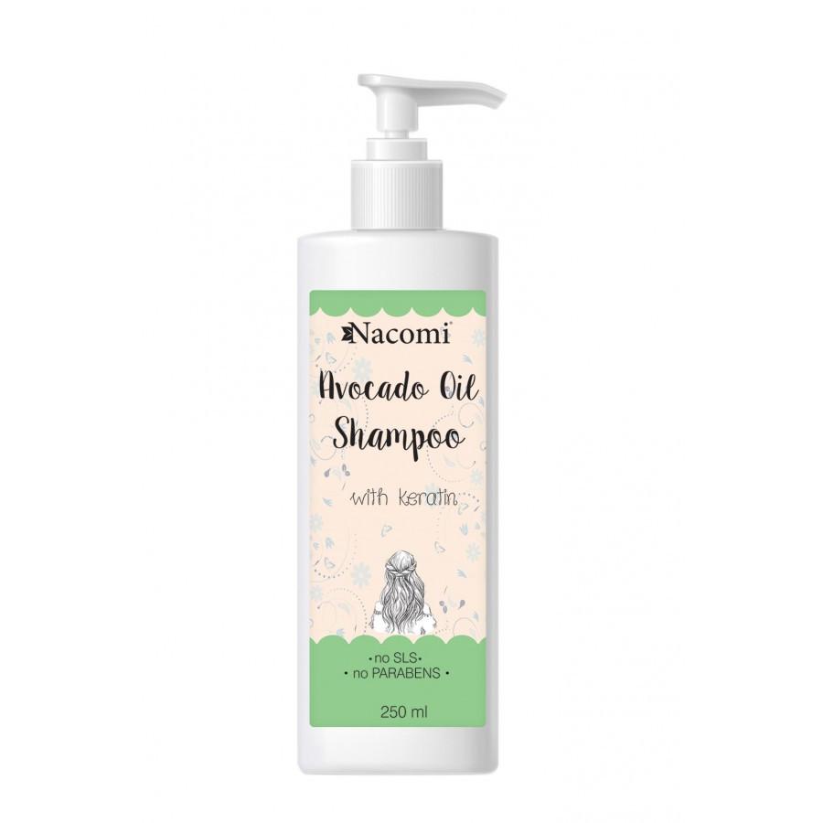Купить Шампунь для тонких сухих волос Nacomi Avocado Oil Shampoo с маслом авокадо и кератином органический 250 мл (5901878680286)