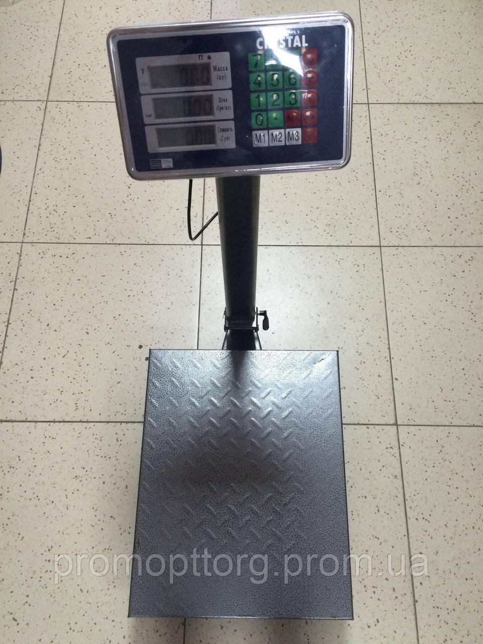 Весы торговые электронные Сrystal  (до 300 кг) с платформой и счетчиком цены на трубе (на стойке) DJV /44